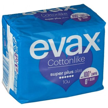 evax cottonlike super plus alas 10 compresas
